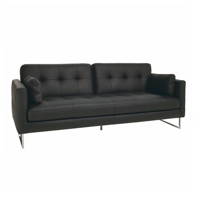 Paris leather three seater sofa bed black dwell for Sofa bed paris