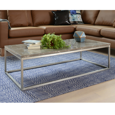 Marble rectangular coffee table grey
