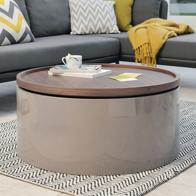 Drum lift coffee table with walnut top stone base