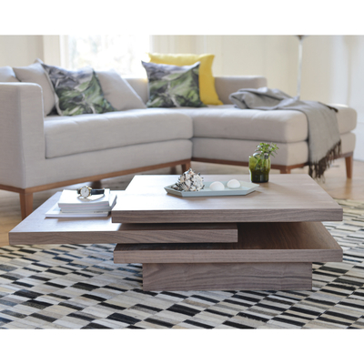 Rotate square coffee table walnut
