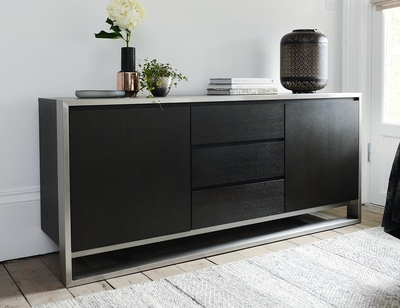 Nox two doors sideboard with drawers chocolate