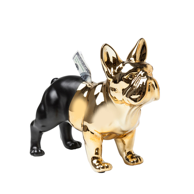 Bulldog money box gold and black