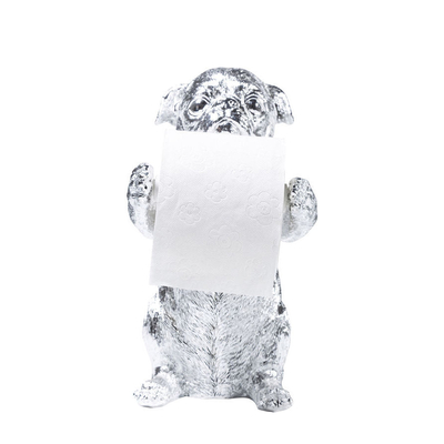 Pug toilet roll holder chrome