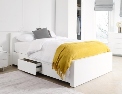 Notch bed double with drawers white