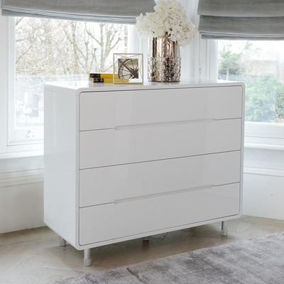 Notch wide chest of drawers white