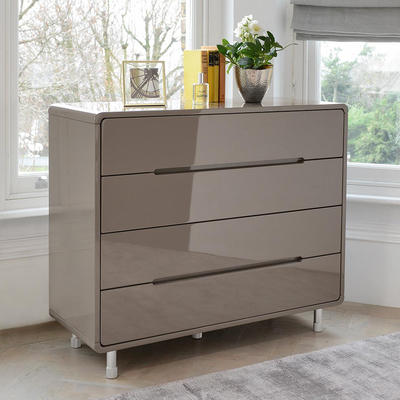 Notch wide chest of drawers stone