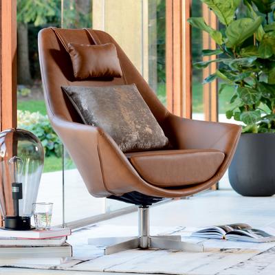Pivot swivelling armchair tan