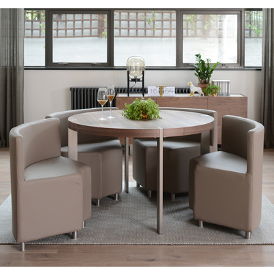 Rotunda 4 seater dining table set walnut and stone