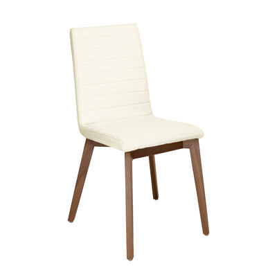 Parquet dining chair faux leather cream