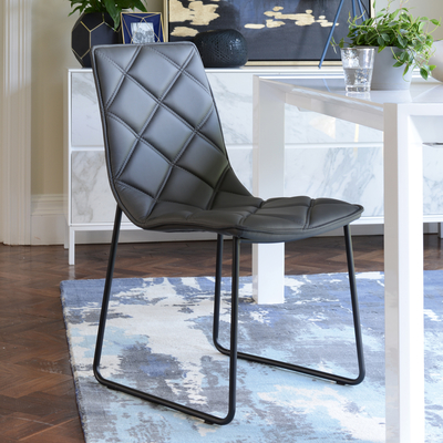 Portela dining chair faux leather grey