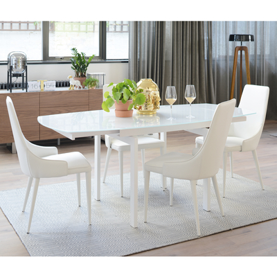 Lexington extending 4-6 seater dining table white glass