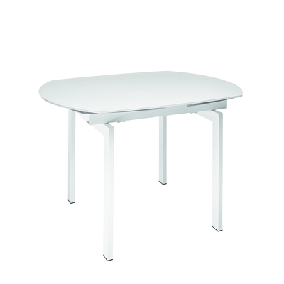 Gracili extending 4-6 seater dining table white glass