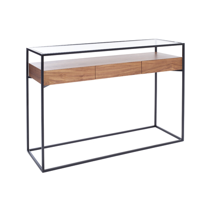 Drift console table with drawers walnut
