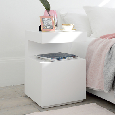 Vault bedside table with drawer white