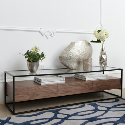 Drift TV unit with drawers walnut
