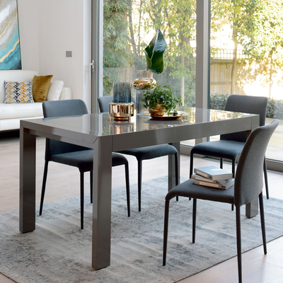 Double extending 6-10 seater dining table stone gloss