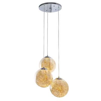 Amber flare triple pendant light large