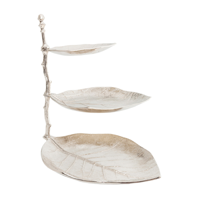 Leaf etagere three tier silver