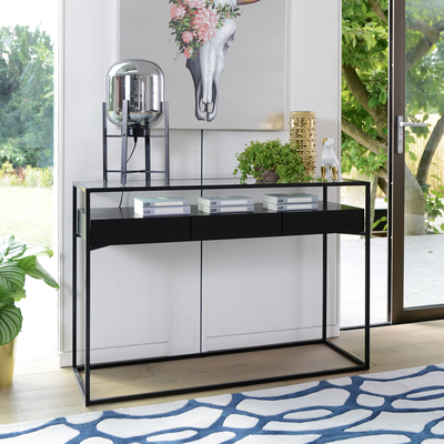 amp table drawers with suri modern narrow legs p metal detail drawer wood mango industrial supersize console in