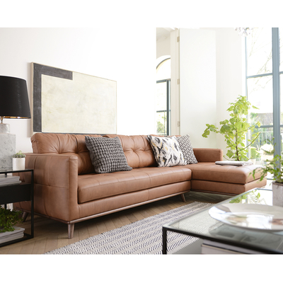 Marseille leather right hand corner sofa tan