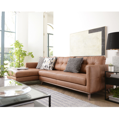 Marseille leather left hand corner sofa tan