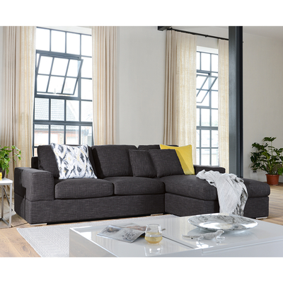 Verona right hand corner sofa bed with storage charcoal