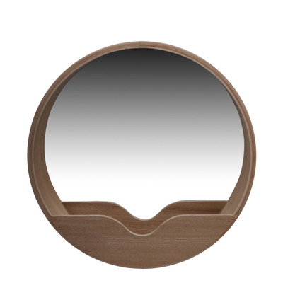 round wall mirror with shelf large dwell. Black Bedroom Furniture Sets. Home Design Ideas
