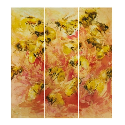 Bees and flowers handpainted triple panel art