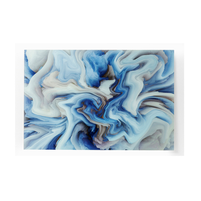 Glass waves wall art blue