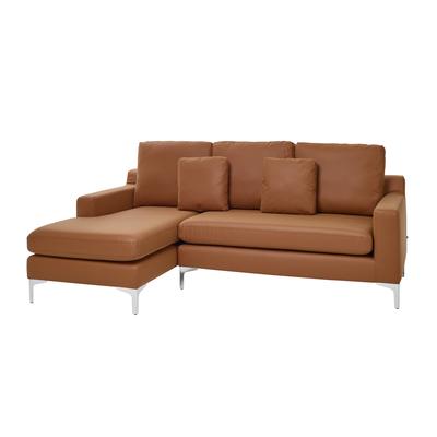Oslo faux leather left hand corner sofa tan