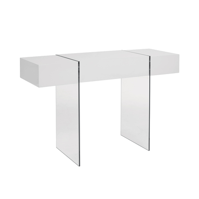 Treble console table with drawer white