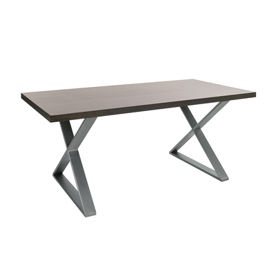 Crossed leg 6 seater dining table brushed steel leg chocolate