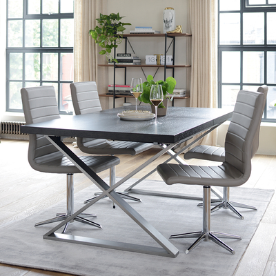 Crossed leg extending 6-10 seater dining table brushed steel leg chocolate