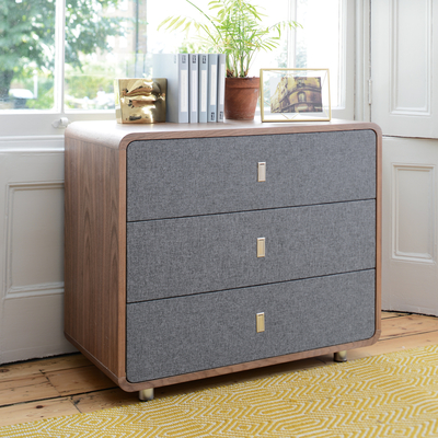 Malone upholstered chest of drawers walnut and grey fabric