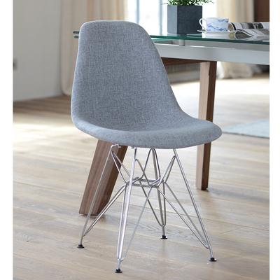 Eiffel dining chair with metal leg grey fabric
