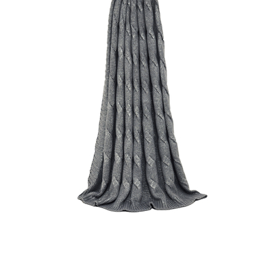 Cable knit throw silver grey