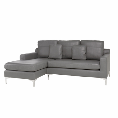 Oslo leather left hand corner sofa grey