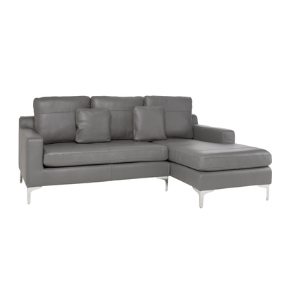 Oslo leather right hand corner sofa grey