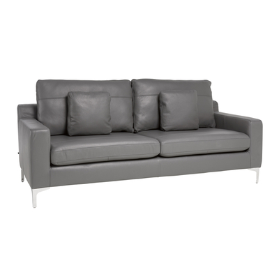Oslo leather three seater sofa grey