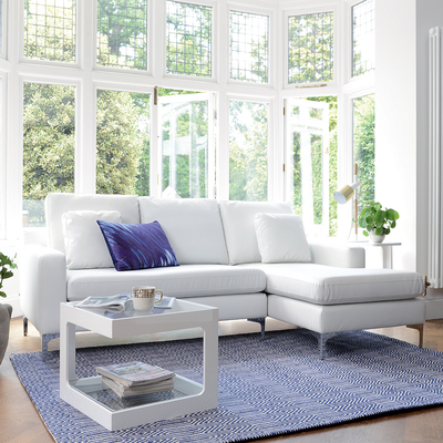 Oslo leather right hand corner sofa brilliant white