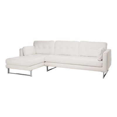 Paris faux leather left hand corner sofa brilliant white