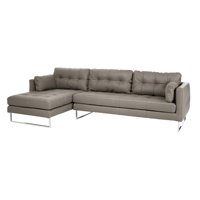 Paris leather left hand corner sofa dove grey
