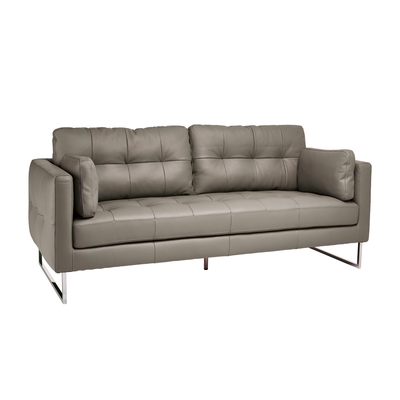 Paris leather three seater sofa dove grey