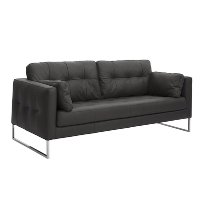 Paris leather three seater sofa jet black