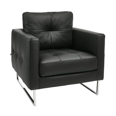 Paris leather armchair jet black
