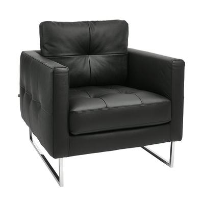 Paris leather armchair jet black