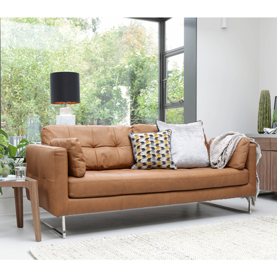 Paris leather three seater sofa natural tan