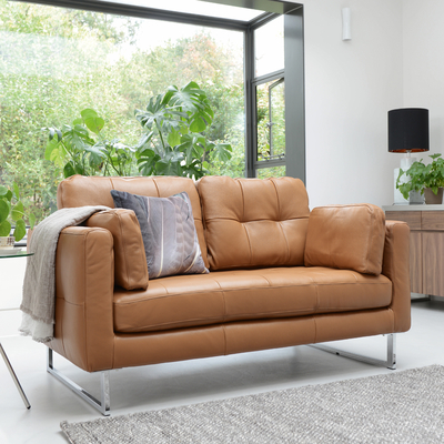 Paris leather two seater sofa natural tan