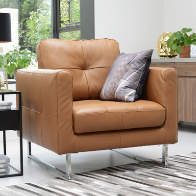Paris leather armchair natural tan