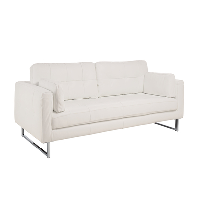 Paris leather three seater sofa brilliant white